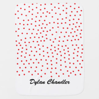 Red Polka Dotted Personalized Baby Blanket