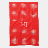 Red Polkadot Pattern-Monogram Hand Towel