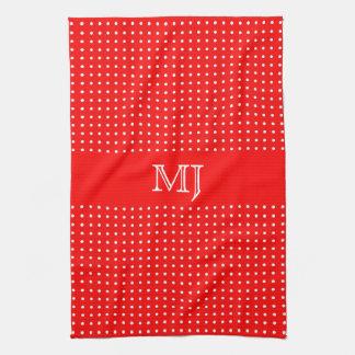 Red Polkadot Pattern-Monogram Towel
