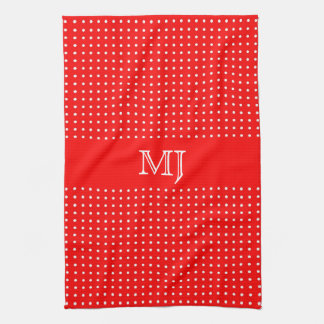 Red Polkadot Pattern-Monogram Hand Towels