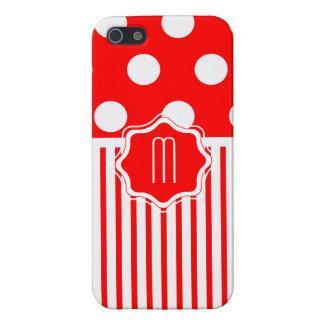 Red polkadot Stripe Case For iPhone SE/5/5s