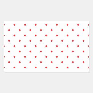 Red Polkadots Small Rectangular Sticker