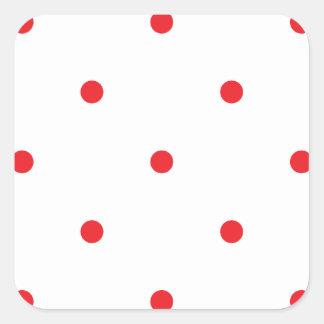 Red Polkadots Small Square Sticker