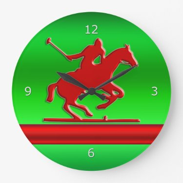 Red Polo Player on green metallic-effect field Clock