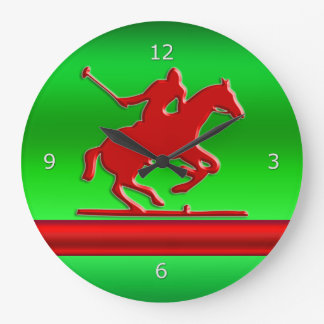 Red Polo Player on green metallic-effect field Large Clock