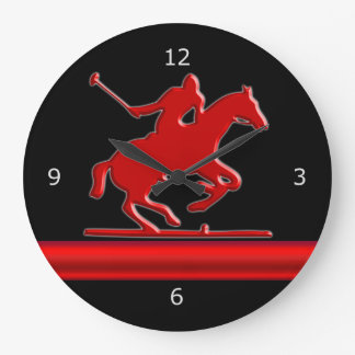 Red Polo Pony on black, red metallic-look stripe Large Clock