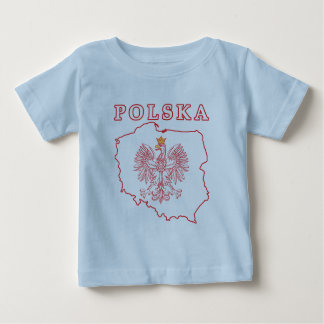 Red Polska Map With Eagle Baby T-Shirt
