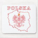 Red Polska Map With Eagle Mouse Pad