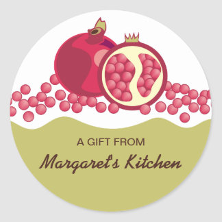 Red pomegranates seeds gift tags stickers