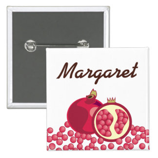 Red pomegranates seeds name badge buttons