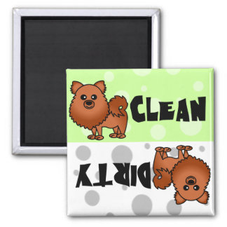 Red Pomeranian Clean Dirty Dishwasher Magnet