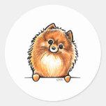 Red Pomeranian Paws Up Classic Round Sticker