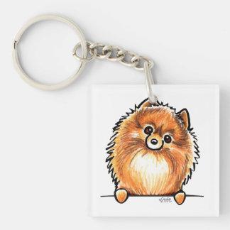 Red Pomeranian Paws Up Keychain
