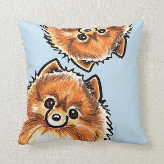 Red Pomeranian Paws Up Throw Pillows