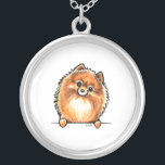 """Red Pomeranian Paws Up Silver Plated Necklace<br><div class=""""desc"""">Cute design featuring hand drawn art of a red/orange Pomeranian. Makes a unique gift for moms,  dads and kids.</div>"""