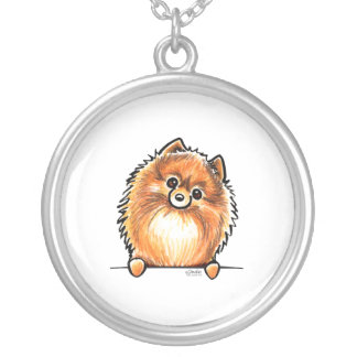 Red Pomeranian Paws Up Silver Plated Necklace