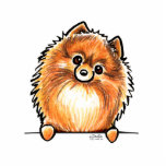 """Red Pomeranian Paws Up Statuette<br><div class=""""desc"""">Cute design featuring hand drawn art of a red/orange Pomeranian. Makes a unique gift for moms,  dads and kids.</div>"""