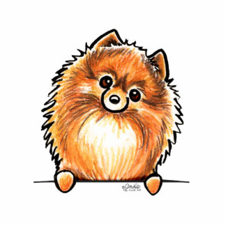 Red Pomeranian Paws Up Statuette