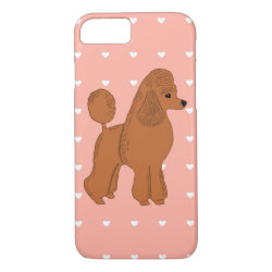 Red Poodle Hearts Pink Peach iPhone 8/7 Phone Case