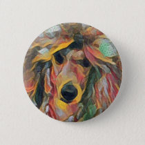 Red Poodle watercolor Art Button
