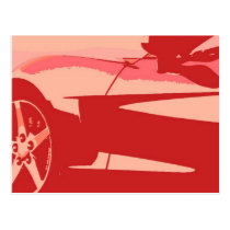 Red Pop Art Corvette Postcard