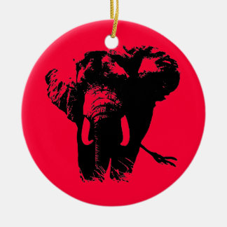 Red Pop Art Elephant Christmas Ornament