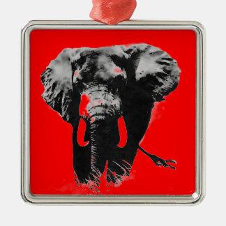 Red Pop Art Elephant Christmas Tree Ornament