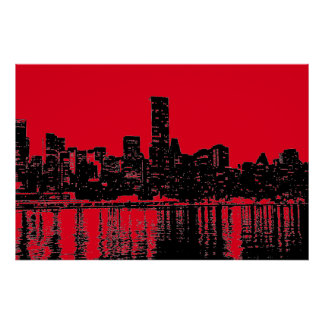 Red Pop Art New York City Manhattan Silhouette Poster