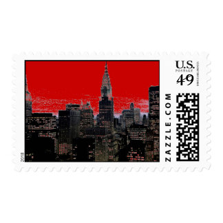 Red Pop Art New York City Postage Stamps