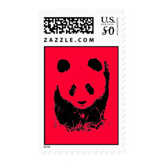 Red Pop Art Panda Stamps