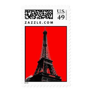 Red Pop Art Paris Eiffel Tower Postage