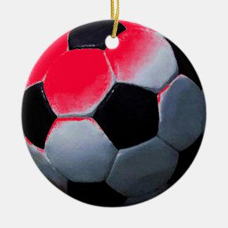 Red Pop Art Soccer Ball Christmas Ball Ceramic Ornament
