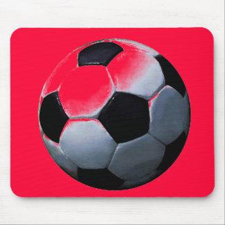 Red Pop Art Soccer Ball Mousepad