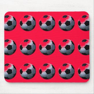 Red Pop Art Soccer Balls Mousepad