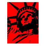 Red Pop Art Statue of Liberty Postcard