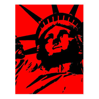 Red Pop Art Statue of Liberty Postcard