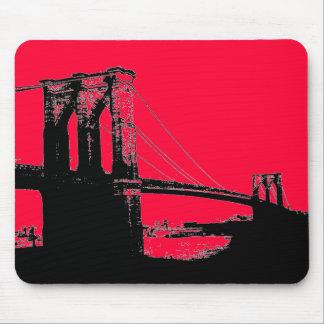 Red Pop Art Vintage Brooklyn Bridge Mousepad