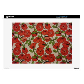 """Red Poppies 15"""" Laptop Decals"""