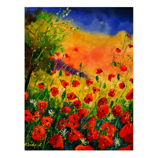 red poppies 45 postcard