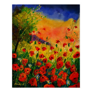 red poppies 45 poster