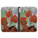 red poppies abstract Kindle case