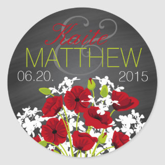 Red Poppies and Chalkboard Wedding Label Classic Round Sticker