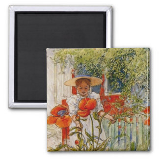 Red Poppies and Little Girl 2 Inch Square Magnet