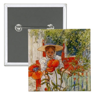Red Poppies and Little Girl Pin