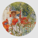 Red Poppies and Little Girl Round Stickers