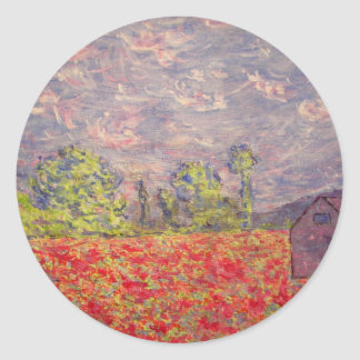 red poppies and purple barn classic round sticker