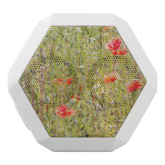 Red Poppies and Wildflowers Floral Field White Boombot Rex Bluetooth Speaker