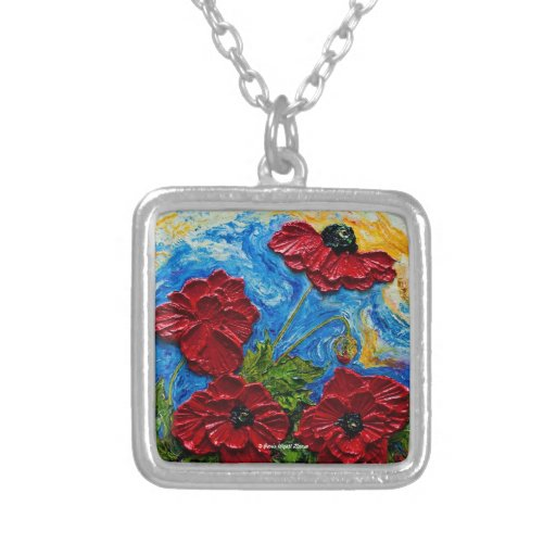 Red Poppies Art Necklace