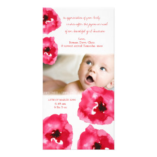 Red Poppies Baby Birth Thank You Photo Card