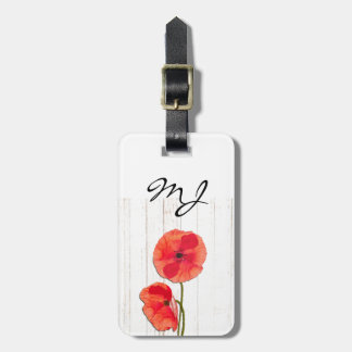 Red poppies barn wood background poppy barn wood bag tag